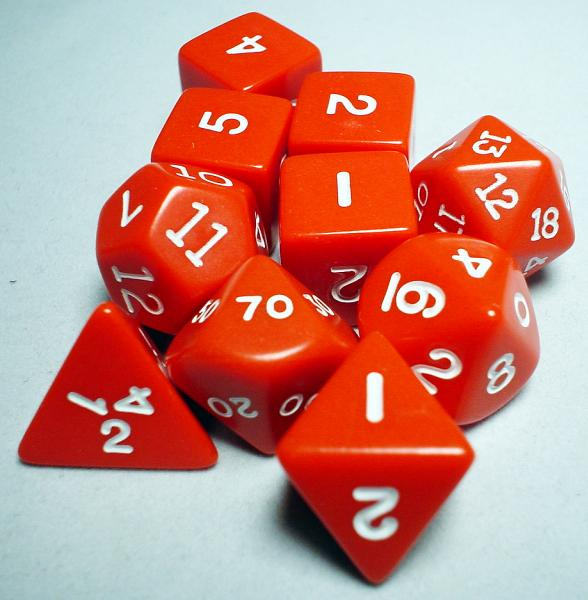 Koplow RPG Dice Sets: Red/White Opaque 10-Die Set