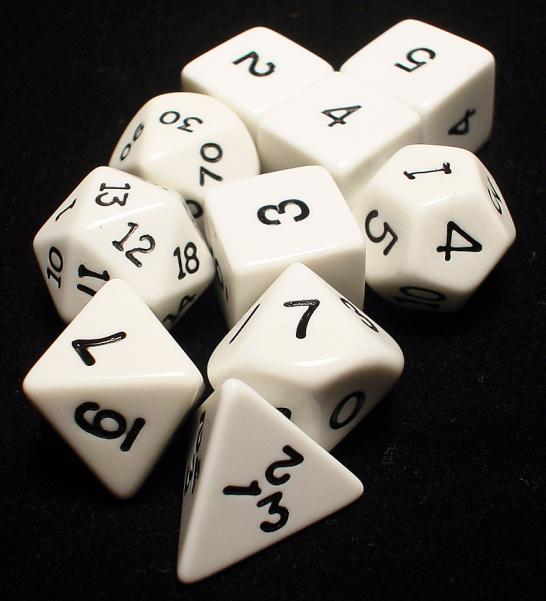 Koplow RPG Dice Sets: White/Black Opaque 10-Die Set
