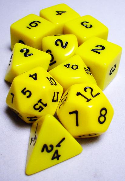 Koplow RPG Dice Sets: Yellow/Black Opaque 10-Die Set