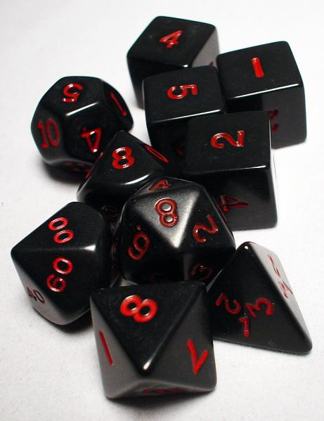 Koplow RPG Dice Sets: Black/Red Opaque 10-Die Set