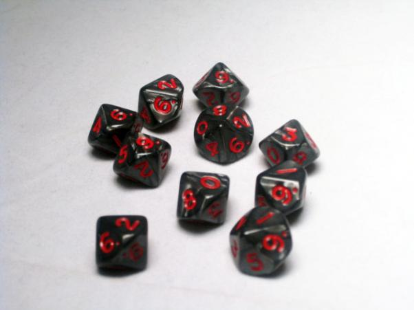 Miniature Dice: Charcoal/Red Pearlized d10 Set (10)