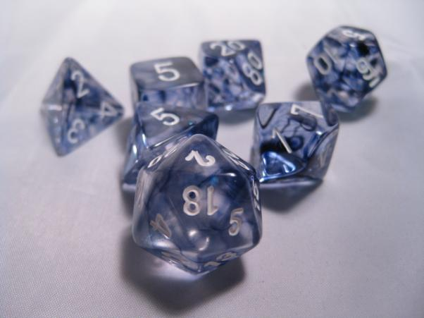 Chessex RPG Dice Sets: Black/White Nebula Polyhedral 7-Die Set