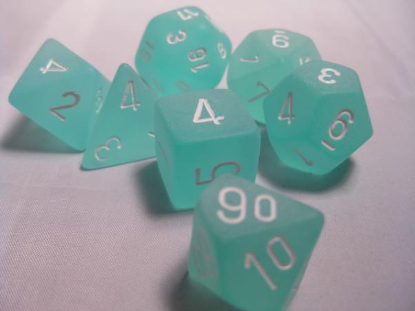 Chessex RPG Dice Sets: Teal/White Frosted Polyhedral 7-Die Set