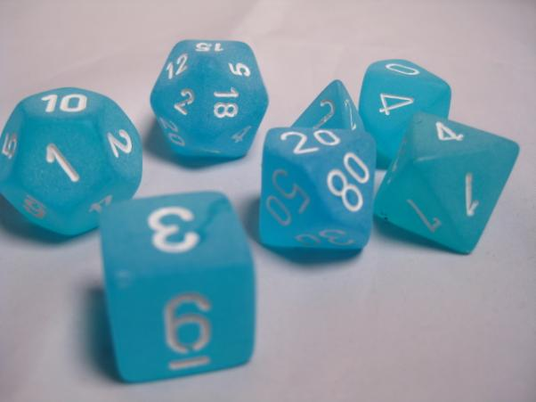 Chessex RPG Dice Sets: Caribbean Blue/White Frosted Polyhedral 7-Die Set