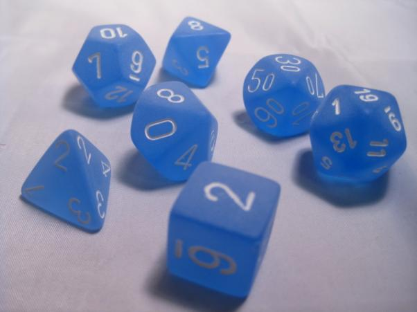 Chessex RPG Dice Sets: Blue/White Frosted Polyhedral 7-Die Set