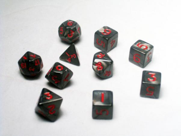 Miniature Dice: Charcoal/Red Pearlized Polyhedral 10-Die Set