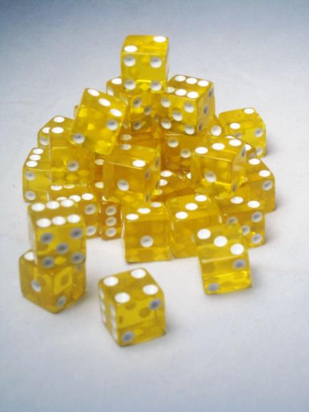 Square Cornered Dice: Yellow/White Translucent 12mm d6 (36)