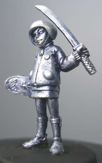 Hasslefree Miniatures: Adventurers (28mm) - Amoy, helmeted  female youth w/ katana & skateboard
