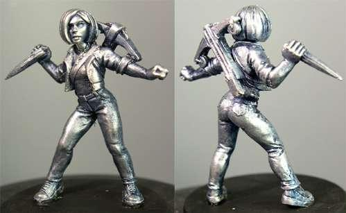 Hasslefree Miniatures: Adventurers (28mm) - Sadie.  Female teenage vampire killer/hunter w/ xbow