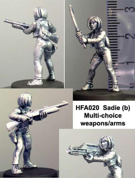 Hasslefree Miniatures: (28mm) Sadie (b), 3 weapon/arm combinations (1)