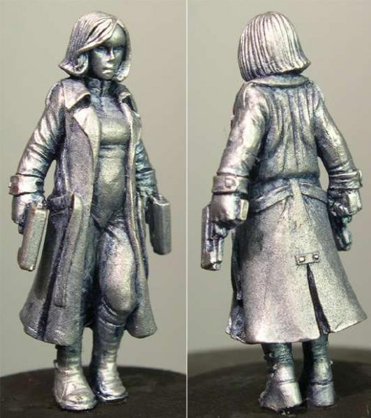 Hasslefree Miniatures: Adventurers (28mm) - Dionne (b) ,  werewolf hunter w/ long coat