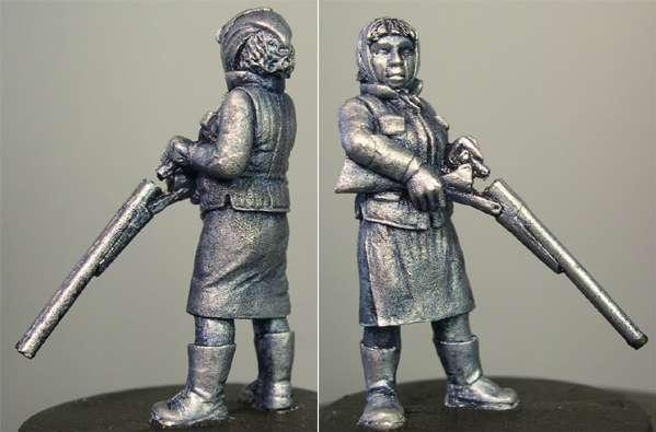 Hasslefree Miniatures: Adventurers (28mm) - Madge.  Elderly lady w/ double-barrelled shotgun