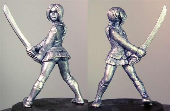 Hasslefree Miniatures: Adventurers (28mm) - Suzi (b)  Japanese schoolgirl w/ katana