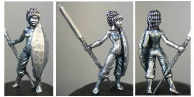 Hasslefree Miniatures: Humans - Nubian female w/ hide shield and assegai