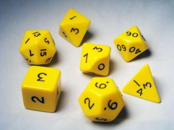 Jumbo RPG Dice Sets: Yellow/Black Opaque Polyhedral 7-Die Set