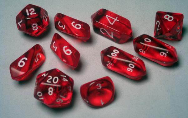 RPG Dice Sets: Red/White Translucent Hybrid 10-Die Set