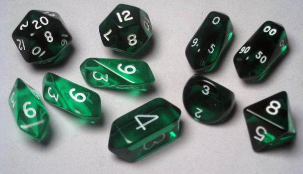 RPG Dice Sets: Green/White Translucent Hybrid 10-Die Set