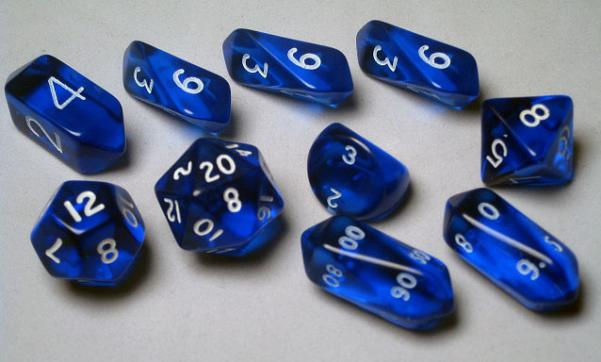 RPG Dice Sets: Blue/White Translucent Hybrid 10-Die Set