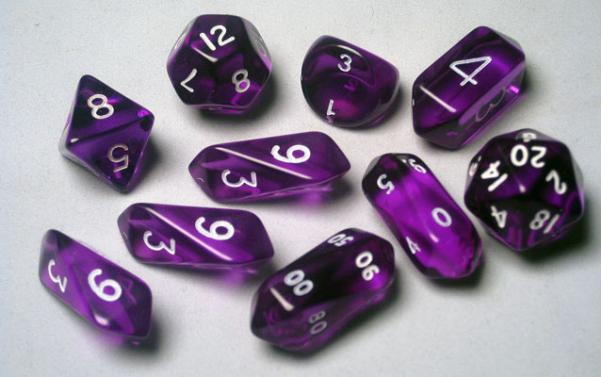 RPG Dice Sets: Purple/White Translucent Hybrid 10-Die Set