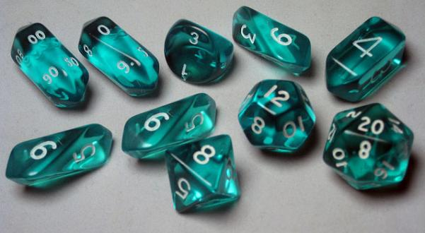 RPG Dice Sets: Teal/White Translucent Hybrid 10-Die Set