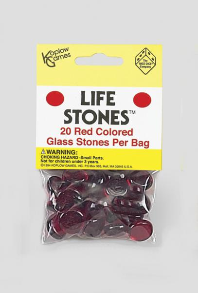 Gaming Counters: Red Colored Glass Stones (20)