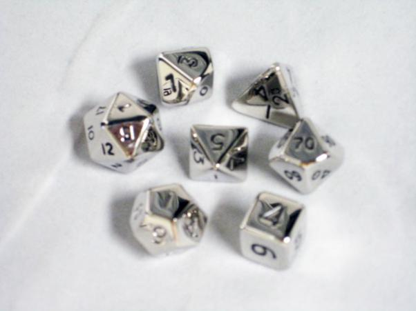 Dwarven Metal Dice Set (7 piece 12mm - Chrome)