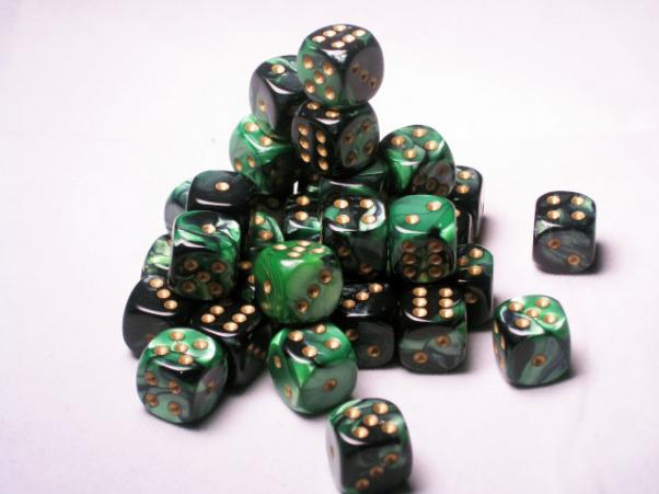 Chessex Dice Sets - Gemini 4: 12mm D6 Black Green/gold (36)