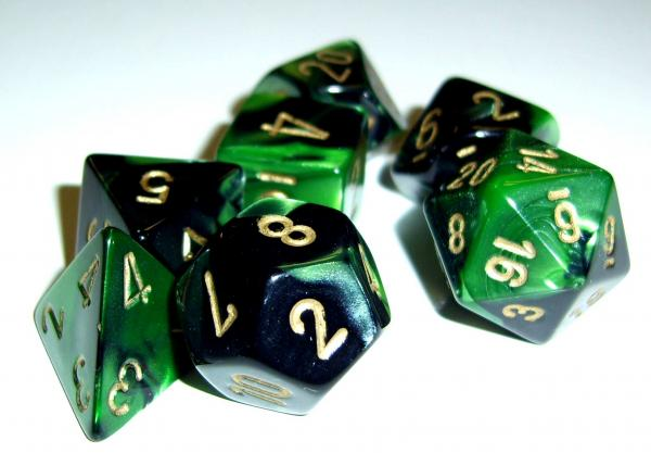 Chessex RPG Dice Sets: Gemini 4 Poly Black Green/gold Polyhedral 7-Die Set