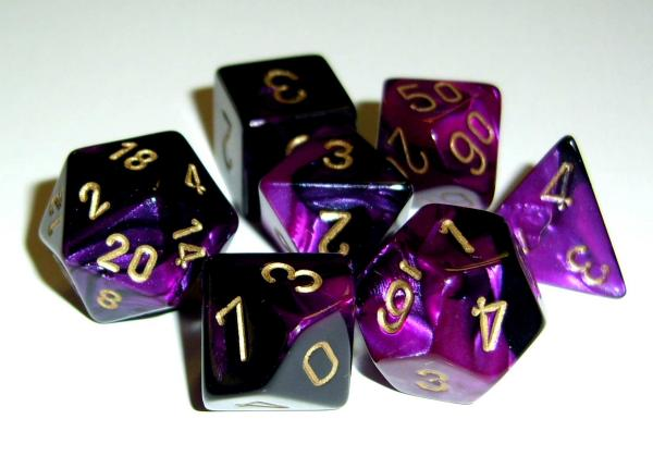 Chessex RPG Dice Sets: Gemini 4 Poly Black Purple/gold Polyhedral 7-Die Set