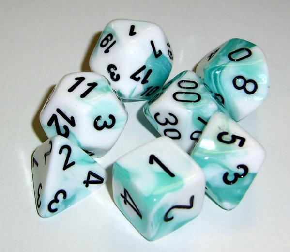 Chessex RPG Dice Sets: Gemini 4 Poly White Teal/black Polyhedral 7-Die Set