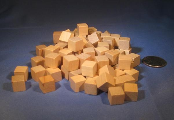 Game Accessories: 10mm Natural Wooden Cube Tokens (100 Pack)
