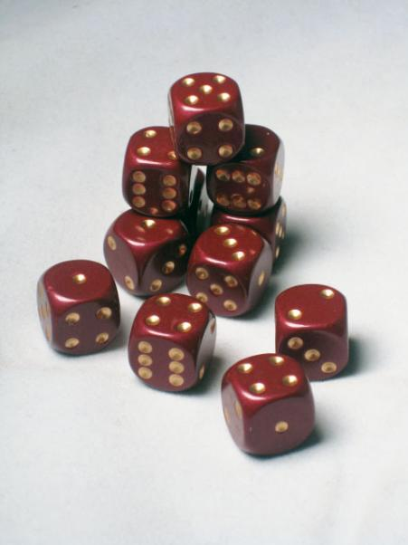 Dwarven Metal 12mm Dice: Red Hue (1 Pipped d6)