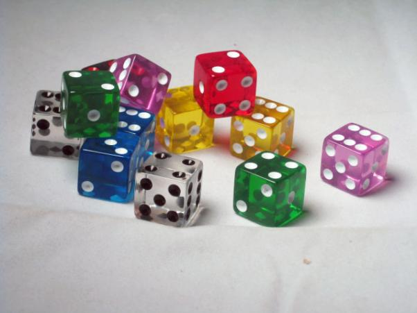 Square Cornered Dice: Assorted/White Translucent 16mm d6 (12)