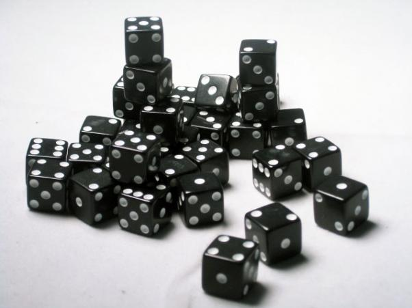 Square Cornered Dice: Black/White Opaque 12mm d6 (36)