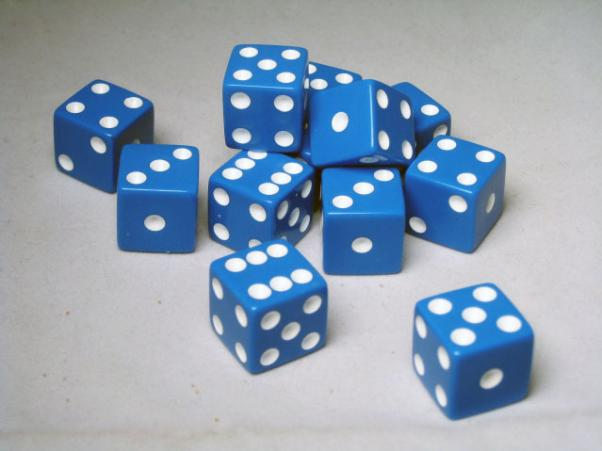 Square Cornered Dice: Blue/White Opaque 16mm d6 (12)