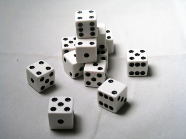 Square Cornered Dice: White/Black Opaque 16mm d6 (12)