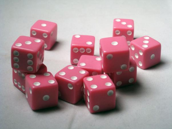 Square Cornered Dice: Pink/White Opaque 16mm d6 (12)