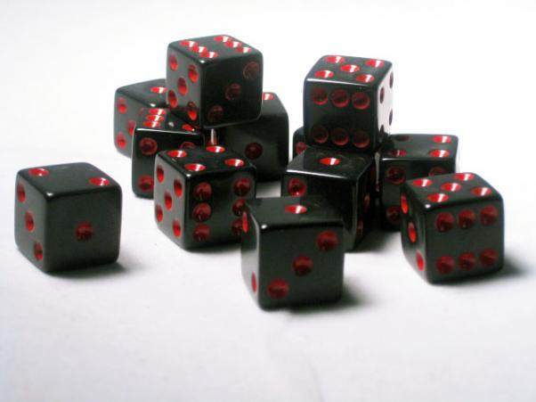 Square Cornered Dice: Black/Red Opaque 16mm d6 (12)