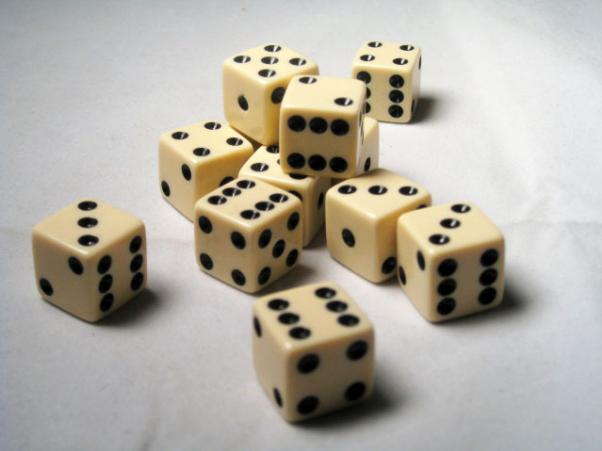 Square Cornered Dice: Ivory/Black Opaque 16mm d6 (12)