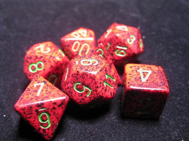 Chessex Dice: Strawberry Red Poly 7-dice Cube