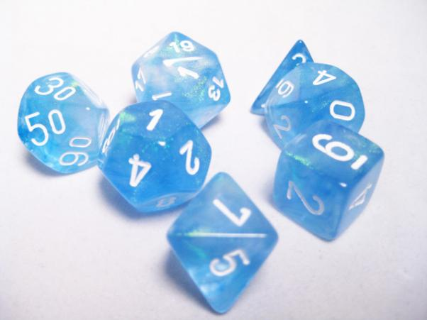 Chessex RPG Dice Sets: Sky Blue/White Borealis Polyhedral 7-Die Set