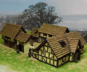 28mm Finished Fantasy Terrain: Farmhouse Set (4 Pieces)