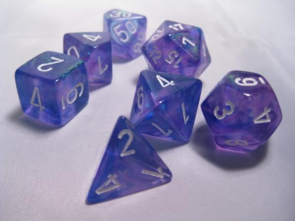 Chessex RPG Dice Sets: Purple/White Borealis Polyhedral 7-Die Set