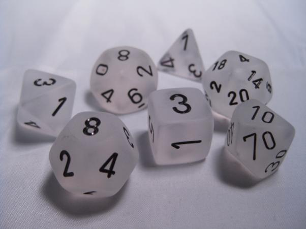 Chessex RPG Dice Sets: Clear/Black Frosted Polyhedral 7-Die Set
