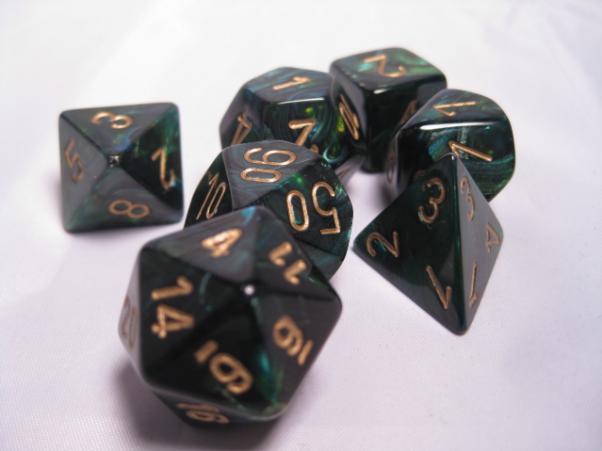 Chessex RPG Dice Sets: Jade/Gold Scarab Polyhedral 7-Die Set