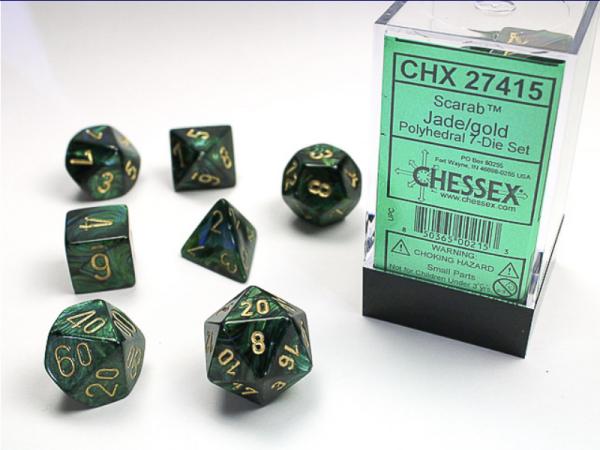 Chessex RPG Dice Sets: Jade/Gold Scarab Polyhedral 7-Die Set