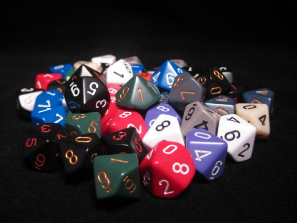 Chessex Bulk Dice Sets: Assorted Opaque d10 Bag (50)