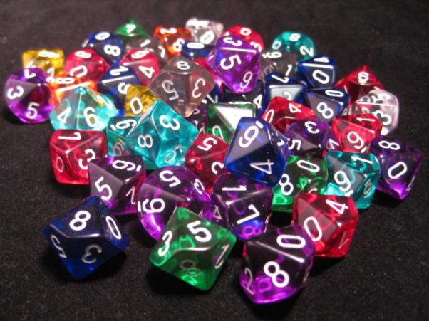 Chessex Bulk Dice Sets: Assorted Translucent Polyhedral d10 Bag (50)