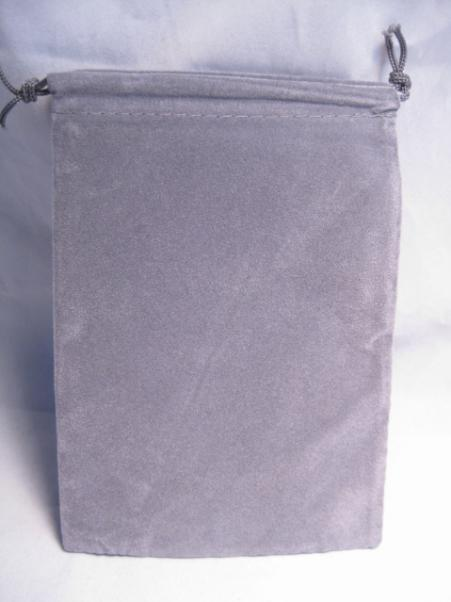 Velour Dice Bags: Small Grey (4'' x 6'')