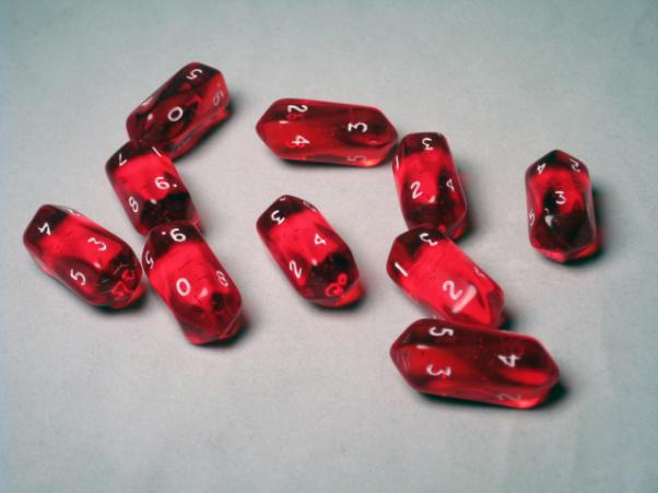 Crystal Caste Dice Sets: Red Translucent Crystal d10 (10-Die Set)